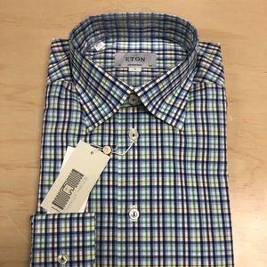 Eton Check Contemporary Fit UnderButton Shirt